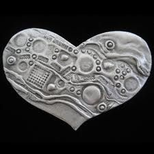 heart and textures (printmaking)