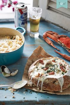 Stylist Jonathan Fleming's Dish fo the Day - San Francisco style crab & claim chowder, cooked in Le Creuset and served in a sourdough loaf. See more on the Temple & Webster blog.