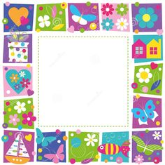 Illustration of cute hearts flowers and butterflies border vector art, clipart and stock vectors. Picture Borders, Page Borders, Borders And Frames, Bible Doodling, Printable Frames, Doodle Frames, Art Birthday, Flower Clipart, Writing Paper