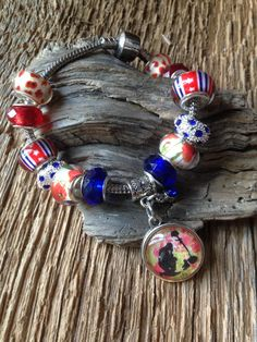 Memorial Day bracelet with fallen soldier and red poppies: Military bracelet, WWII bracelet, Remember the Fallen poppy, red poppy Memorial by EquusFancy on Etsy