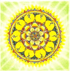 The solar plexus mandala - Manipura is symbolized by a downward pointing triangle with ten petals. The colour that corresponds to Manipura is yellow. Key issues governed by Manipura are issues of personal power, fear, anxiety, opinion-formation, introversion, and transition from simple or base emotions to complex. Physically, Manipura governs digestion, mentally it governs personal power, emotionally it governs expansiveness, and spiritually, all matters of growth.