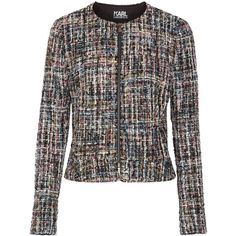 Karl Lagerfeld Metallic bouclé-tweed jacket (705 BRL) ❤ liked on Polyvore featuring outerwear, jackets, black, karl lagerfeld, multi-color leather jackets, metallic jacket, tweed jacket and colorful jackets