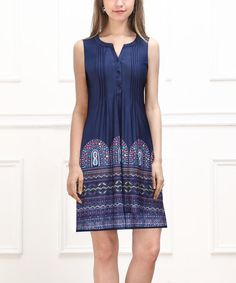 This Navy Marquee Sleeveless Button-Front Dress by Reborn Collection is perfect! #zulilyfinds
