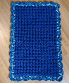 New Crochet Acrylic Rag Rug Royal Blue Handmade USA #Handmade