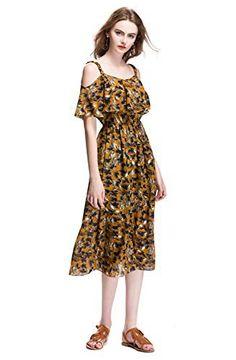 Okmall Women's Summer Short Sleeve Cold Shoulder Ruffle Floral Printed Midi Dress