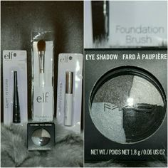 Bundle Mac Eyeshadow with Elf set cosmetic BRAND-NEW  Mac Eyeshadow  *Fog and Mist  BRAND-NEW  EXPERT LIQUID LINE #21702 Jet Black Fine tip brush easily  creates smooth defined lines  VOLUMIZING MASCARA #21661 Black Dramatically boosts and curls lashes  FOUNDATION BRUSH Achieve an ultra smooth finish when applying foundation or tinted  moisturizer.The rounded brush design  helps to reach into small contours of the face for a completely  blanded look.Synthetic, vegan friendly  bristles are…
