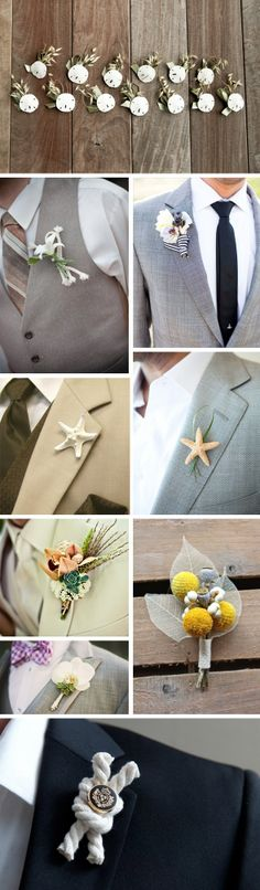 a beautiful touch adding a boutonniere that reflects the theme or location of your wedding day.