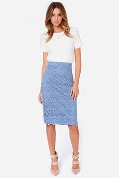 """Reinvent your outfits with the Legs for Days Light Blue Pencil Skirt, it was made for a gal like you! Dropping from a fitted waist, this midi length pencil skirt is covered in a beautifully scalloped crochet pattern. Its dusty blue color makes it perfect for pairing with a cute top and chic heels. 6"""" kick pleat at back. Hidden back zipper/clasp closure. Fully lined. Model is 5'9"""" and wearing a size small. Self: 100% Cotton. Lining: 97% Cotton, 3% Spandex. Dry Clean Only. Imported."""