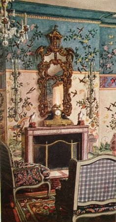 Pierre Brissaud : Elsie de Wolfe's decor for the ballroom of Conde Nast's Park Avenue penthouse. The brilliantly colored Chinese paper was preserved when the apartment was dismantled in the 1940s, and after spending 60 years in storage at Gracie Wallpaper, a section was recently reinstalled in Michael S. Smith's NYC apartment.