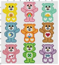 Care Bear graph c2c crochet pattern perler hama