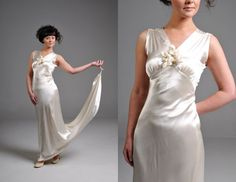 Vintage 20s Ivory Silk Satin Wedding Dress by OffBroadwayVintage