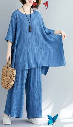 Summer new women's solid color retro blue jacquard cotton sleeves shirt<br> Simple Pakistani Dresses, Pakistani Fashion Casual, Muslim Fashion, Hijab Fashion, Sexy Summer Dresses, Cute Dresses, Casual Dresses, Linen Dresses, Suit Fashion