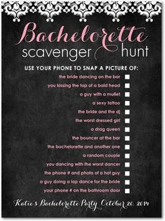 Very cute bachelorette game! for bachelorette party, do a disneyland scavenger hunt Bachlorette Party, Bachelorette Party Games, Bachelorette Weekend, Bachelorette Bucket Lists, Bachelorette Party Checklist, Bridal Shower Games, Bridal Showers, Bridal Games, Bachelorette Scavenger Hunt