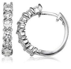 Sterling Silver Cubic Zirconia Hoops  $16.00  #Earrings #Sterlingsilver