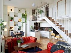 Stunning Two Storey Apartment With Mezzanine Apartment Design Adorned Green Plants Cool modern mezzanine design ideas in home and apartment Interior Design
