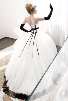black and white ball gown