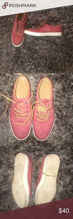 66b33cb63935d2 Lacoste Men s Sneaker Trendy shoes to dress up or down! Faded Red color with  brown shoelaces! Worn a couple times as shown in the pictures!