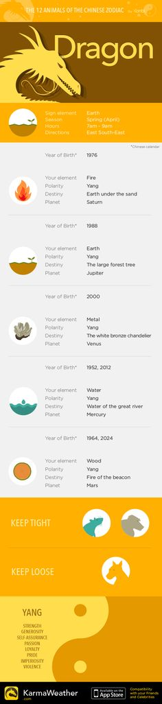 Dragon — Infography and Chinese horoscope for your zodiac sign #KarmaWeather - Chinese compatibility app for iPhone