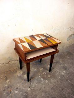 Chevet Teck DES Années 60 Vintage Design Scandinave Relooké Customisé | eBay