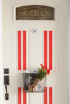 Adding grain sack inspired lines to your front door is an easy way to up your curb appeal. Choose bright red to really make a statement at your entrance.