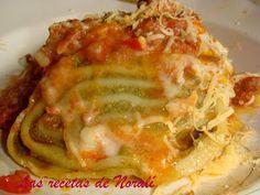 Fideos Arrollados | Las Recetas de Norali Pasta Casera, Lasagna, Quiche, Tapas, Breakfast, Ethnic Recipes, Food, Gratin, Stuffed Noodles