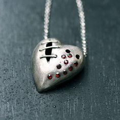 My bloody valentine sutured heart necklace sterling silver garnet No. 6