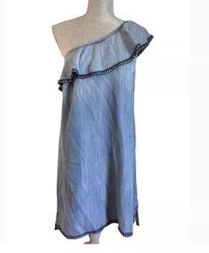264828232fc7 Cloth & Stone Anthropologie One Shoulder Ruffle Blue Dress Sz L  #fashion #clothing