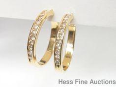 Perfect Size 14k Yellow Gold Channel Set Genuine 1.0ctw Diamond Hoop Earrings #Unbranded #Hoop