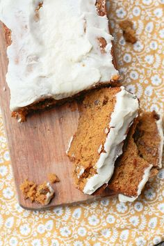 Pumpkin Bread with Brown Butter Glaze. Ingredients: flour, cloves, cinnamon, nutmeg, salt, baking soa & powder, sugar, butter, eggs, can pumpkin, pecans (optional)