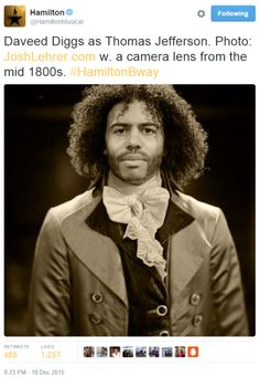 Daveed Diggs, who is making his Broadway debut as Thomas Jefferson in HAMILTON, is the latest subject in the show's series of vintage style photographs taken by Josh Lehrer using an 1839 lens. Hamilton Musical, Cast Of Hamilton, Hamilton Star, Thomas Jefferson Hamilton, Hamilton Wallpaper, Christopher Jackson, Daveed Diggs, Hamilton Fanart, Hamilton Lin Manuel Miranda