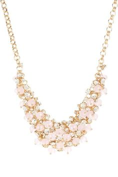 Glass & Pink Stone Cluster Beaded Bib Necklace by Accessorize With Color on @HauteLook