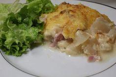 gratin de patisson au jambon - mesdélices.fr Chicken, Food, Cooking Recipes, Zucchini, Veggie Bake, Essen, Meals, Yemek, Eten