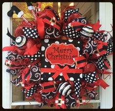 Extra Large Whimsical Black & Red Santa Claus Wreath - Polka Dot Wreath - Red Deco Mesh Wreath - Glitter Christmas Wreath - Fun Wreath by StephsDoorDecor on Etsy