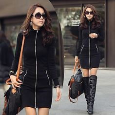Duopindun@New Fashion Women Casual Zipper Up Slim Bodycon Mini Dress Black S-XXL – EUR € 8.75