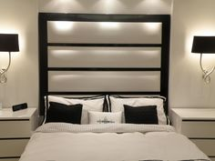 Mortimer Headboard Luxury Furniture with lamp and nightstand