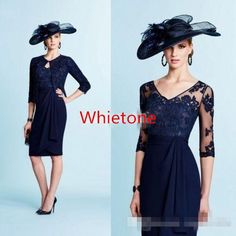 Navy Blue Lace Mother Of The Bride Dresses With Jacket Half Sleeves Appliques Knee Length 2016 Vintage Formal Party Evening Gown For Wedding Wedding Dresses Mother Of The Bride Wedding Mother Of The Bride From Whiteone, $85.79| Dhgate.Com