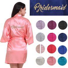 Customize Bridesmaid Gold Print Short Plain Satin Kimono Cheep Robe Wedding  Party Robes Bridesmaid Kimono Bathrobe Party Favors Gift Free Wedding Favors  ... 388a1a470