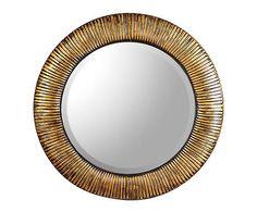 Espejo de pared de hierro, redondo III – dorado