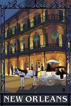 New Orleans, LA - French Quarter - Lantern Press Original Poster