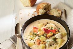 Nova Scotia Seafood Chowder—Chock-full of a variety of seafood, fish and vegetables, this rich soup is inspired by a similar chowder served at the Masstown Market, near Truro, N.S. Enjoy a hearty bowlful with Buttermilk Biscuits.