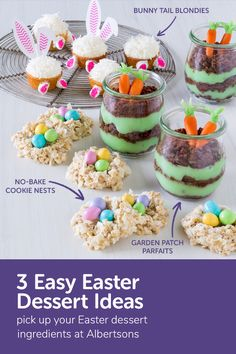 Stuck looking for fun Easter dessert ideas? These three fun and festive Easter treats are colorful, exciting and totally unique! From elevated Easter cupcakes to no-bake desserts, each of these recipes will only take minutes to make. Easy Easter Desserts, Easter Treats, Easter Recipes, No Bake Desserts, Holiday Recipes, Easter Food, Holiday Ideas, Holiday Fun, Easter Deserts