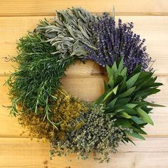 Wreath contains six different culinary herbs. Fresh bay and rosemary, dried dill, oregano, sage and lavender. Made at Creekside Farms on the Central Coast of California. Would love to make my own herb wreath. Dried Flower Wreaths, Lavender Wreath, Dried Flowers, Fresh Wreath, Lavander, Herbal Kitchen, Kitchen Herbs, Nice Kitchen, Beautiful Kitchen