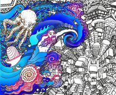 Wrath Of the Sea Gods Poster- Tsunami Canvas Poster- Psychedelic Art- Home Decor Canvas Poster, Canvas Art, Kraken, Tsunami, Tentacle, Psychedelic Art, Surreal Art, Fractals, Surrealism