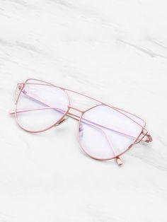 Top Bar Flat Lens Glasses -SheIn(Sheinside)