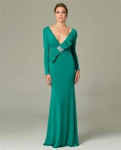 7244b22be74e7 Sexy Sheath Deep V Neck Long Sleeve Green Occasion Evening Dress With Bow
