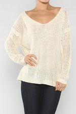 Twinkling V-Neck Sequin Sweater, Cream