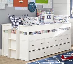 Comes in gray or dark wood Elliot captains bed and trundle Pottery Barn Kids Extra Wide Dresser, Ideas Habitaciones, Captains Bed, Baby Furniture, Furniture Outlet, Discount Furniture, Pottery Barn Kids, Kid Beds, My New Room
