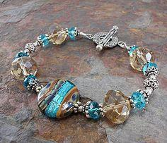 Aqua bracelet lampwork beads bracelet Bali by thepinkmartini, $79.00