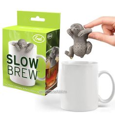 SLOW BREW TEA INFUSER - CUTE SLOTH HANGING LOOSE LEAF SILICONE MUG CUP STRAINER #FredFriends