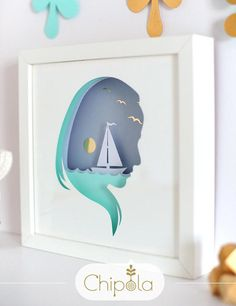 Woman and sea silhouette 3d Paper cut Unique Christmas gift DIY shadow box framed wall art home decor